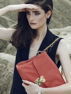 Coral Lilly leather bag with Swarovski crystals