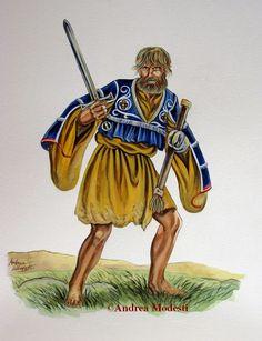 Andrea Modesti Art: Galloglass and Irish kern, 1540 Celtic Clothing, Irish Clothing, Irish Boys, Irish Men, Celtic Astrology, Irish Warrior, Celtic Warriors, Late Middle Ages, Knight Armor