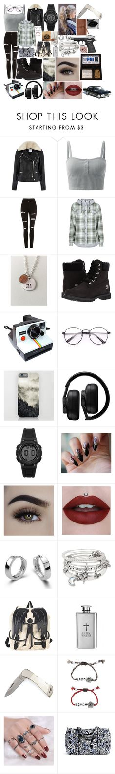 """""""Supernatural Sister"""" by boredom-is-my-motivation ❤ liked on Polyvore featuring Warehouse, Topshop, Marmot, Timberland, Polaroid, Master & Dynamic, Armitron, Alex and Ani, Hot Topic and Vera Bradley"""