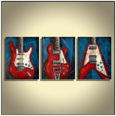 Original Modern Abstract Art Red Blue White Guitar Strat, Les Paul, Flying V, Music Instruments Painting on Canvas by Magda Magier