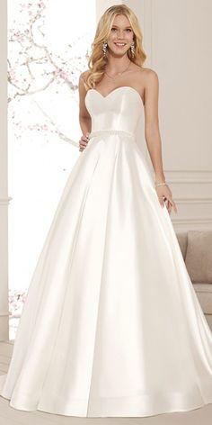 Simple Satin Sweetheart Neckline Natural Waistline A-line Wedding Dress With Beadings