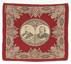 campaign bandanna Blaine and Logan  1884 lost to Cleveland and Hendricks
