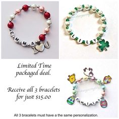 Limited time package price! All 3 bracelets for $15. They'll all come individually packaged and ready for giving.  Find our selection of holiday jewelry here: http://etsy.me/2i64CT7  #handmade #stargazinglily #personalizedgifts #etsy #etsyseller #etsyshop #valentines #stpatricksday #easter #shopsmall #shophandmade #differencemakesus #namebracelet #childrensjewelry #holidayjewelry #charmbracelet #pearlbracelet