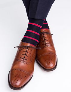 Dapper Classics Navy with Red Stripe and Royal Blue Accent Sock