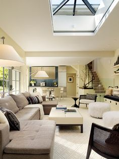 Contemporary Living cove lamps skylight living room Design Ideas, Pictures, Remodel and Decor