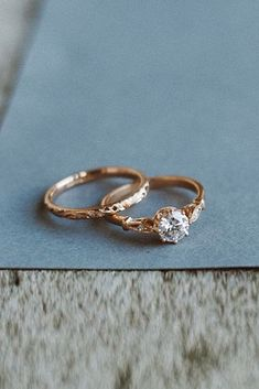rose gold solitaire ring wedding set vintage diamond