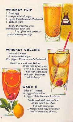 Vintage graphic of versions of three absolutely southern classic cocktails: Whiskey Flip, Whiskey Collins and Ward Party Drinks, Cocktail Drinks, Fun Drinks, Yummy Drinks, Cocktail Recipes, Alcoholic Drinks, Beverages, Vintage Cocktails, Classic Cocktails