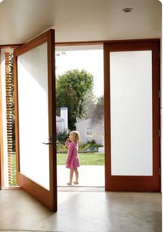 Modern frosted double glass doors