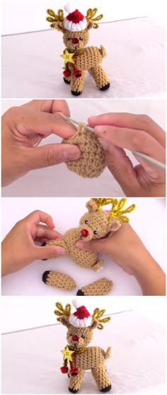 Crochet Reindeer Rudolph For Christmas Crochet Reindeer Rudolph For Christmas Always aspired to discover ways to knit, nevertheless unsure the place to begin? Christmas Crochet Patterns, Crochet Christmas Ornaments, Christmas Knitting, Christmas Crafts, Xmas, Single Crochet Stitch, Basic Crochet Stitches, Crochet Bunny, Crochet Toys