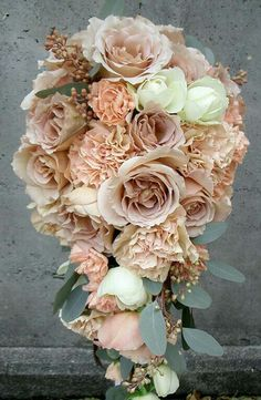 Cascading Bouquet Featuring Nude/Beige/Blush Roses & Pastel Peach/Peach Carnations With White Roses & Seeded Eucalyptus~~