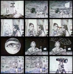 William Kentridge. <em>Felix in Exile</em>, 1994. Production stills; 35mm animated film transferred to video, 8:43 min. Copyright and courtesy of William Kentridge.