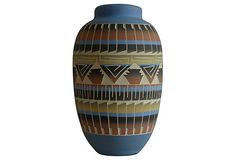 "Handcrafted Navajo clay vase, marked ""V.W. Navajo"" on the base. Mouth, 3.5""Dia."