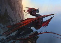 View an image titled 'Dragon on Cliff Art' in our Guild Wars 2 art gallery featuring official character designs, concept art, and promo pictures. White Dragon, Red Dragon, Dragon Art, Fantasy Creatures, Mythical Creatures, Fantasy World, Fantasy Art, Jaime Jones, Dragon Horse
