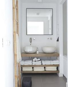 Timber vanity, grey tiles, white walls