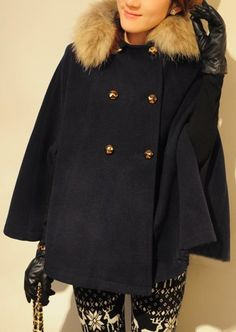 Navy Removable Fur Collar Batwing Cape Coat  Price :$54.72