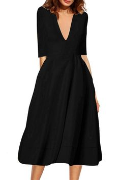 65eb4049ff97 V-neck 3 4 Sleeves Solid High-waist Pleated Long Party Dress