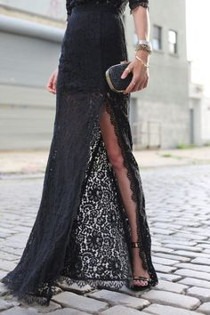 Lace maxi skirt.
