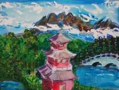 """""""Pagoda"""" 12"""" x 16"""" watercolor on paper"""