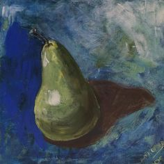 """Pear"" copyright by  www.anne-mette.com  #copyright #painting #peinture #maleri #pære #pear #poire #pera #painting #paintingoftheday #frugt #fruit #danishartist #copenhagenartist #art #blå #blue #bleu #green #grøn #indretning #walldecor #artgallery #kunstgalleri #kunst@anne-mette.com"
