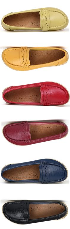 c5b6e4e88d42f Big Size Pure Color Breathable Soft Leather Flat Loafers is cheap and  comfortable. There are other cheap women flats and loafers online.
