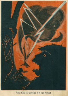 1929 Grace Betts illustration for children's book (The Story of Man Book II: Fleetfoot--The Cave Boy) by William L. Nida. Illustrator is also known as Gay Betts. 1920s.