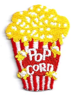 """Popcorn - Movie Snack - Embroidered Iron On Applique Patch - 1 7/8""""H (4.8cm)"""