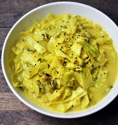 Cabbage in Mild Yogurt and Mustard Seed Curry This vibrant dish is one of our favorites. It makes use of curry powder, coriander, and turmeric and is best when made with at least 4 percent milkfat yogurt. The rich curry sauce is also great when served over rice.