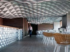 Unlike most interior environments, I love how so much attention is given to the ceiling while the floors and walls virtually disappear.  Vammos restaurant by lmarchitects Piraeus