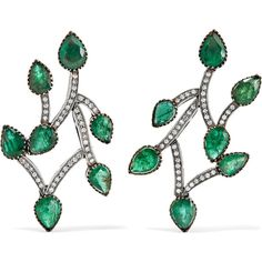 Amrapali 18-karat gold, sterling silver, emerald and diamond earrings ($10,805) ❤ liked on Polyvore featuring jewelry, earrings, diamond jewellery, post earrings, post back earrings, amrapali jewellery and sterling silver emerald earrings