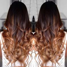 Balayage ombré dark brown black to this beautiful warm caramel tone