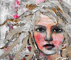 Mixed-media collage by Rachelle Panagarry. Mixed-media collage by Rachelle Panagarry. Collage Kunst, Art Du Collage, Collage Portrait, Portrait Ideas, Abstract Portrait, Face Collage, Canvas Collage, Collage Artists, Portrait Paintings