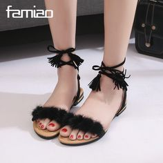 >> Click to Buy << FAMIAO Real Fur Ankle Strap Gladiator Sandals Women Flats 2017 Summer Tassel Shoes Ladies Wedding Beach Sandals Bohemian #Affiliate