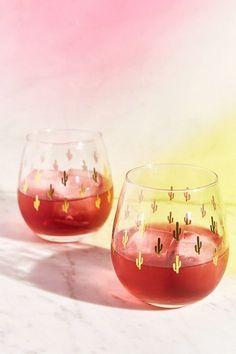Metallic Cactus Stemless Wine Glass - Set Of 2