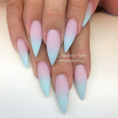Pink and blue color gradient nail art, Stiletto nails KorTeN StEiN? : Pink and blue color gradient nail art, Stiletto nails KorTeN StEiN? Gorgeous Nails, Love Nails, Pink Nails, My Nails, Blue Ombre Nails, Faded Nails, Blush Nails, Red Nail, Nail Nail