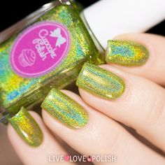 Cupcake Polish 'Denver' ✨ a deliciously unique lime green holographic  available on LiveLovePolish.com! #livelovepolish