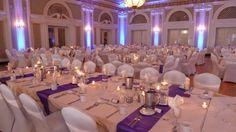 Wedding reception lighting at Greysolon Ballroom. Duluth, MN Up lighting in plum purple. Duluth Event Lighting Bridal lighting, lighting déc...