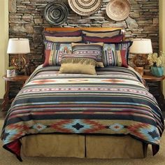 Veratex  Sante Fe Bedding Collection by Veratex is a rustic comforter set with a southwest design in shades of brick red, black, turquoise. Free Shipping on All Orders Over $100!