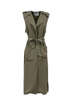 So on-trend! Featuring a long trench vest in versatile shade of light olive with tie waist and side pockets.   Sleeveless Trench Vest by FRNCH. Clothing - Jackets, Coats & Blazers - Vests Michigan