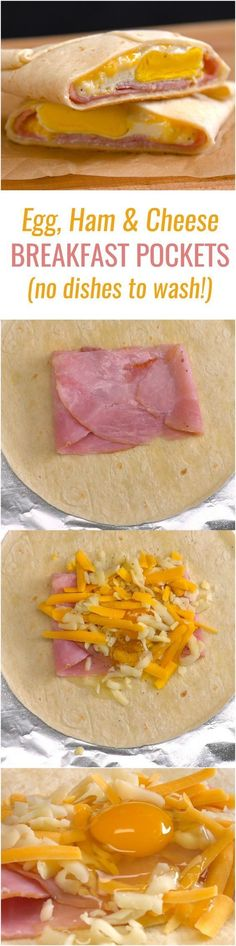 Ham Egg and Cheese Breakfast Pockets