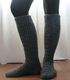 Here's a fun free pattern for a chunky knee-high sock. These are crocheted with heavy worsted to aran yarn and work up quickly in a few shor...
