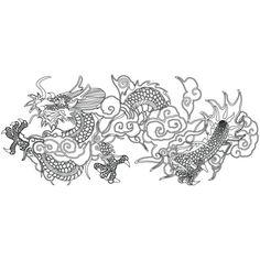 용문,구름문 (31491) Korean Dragon, Chinese Dragon, Chinese Art, Korean Painting, Chinese Embroidery, Asian Design, Dragon Design, Korean Art, Line Illustration