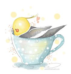 Cute Illustration Cockatiel Bird In Tea Cup by ShivaIllustrations, $10.00