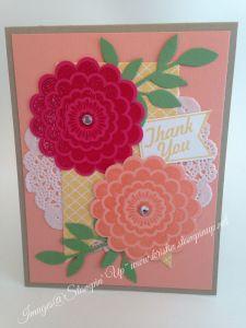 Workshop card - Stampin Up Five way flower stamp