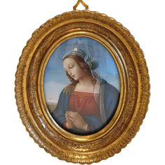 Vintage miniature depicting the Holy Virgin, gilt wood frame, 20th  from chateau on Ruby Lane
