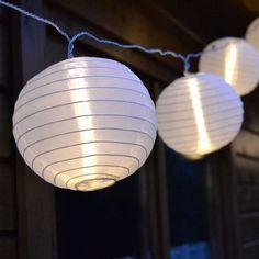 Lampion Lichterkette mit 40 LED-Lampions Kugeln Ø 7,5 cm Garten Terrasse Party…