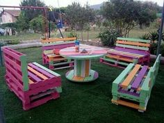 Pallet Outdoor Furniture Renovate your outdoor, indoor, bedroom and your beloved one room with these beautiful colorful wooden pallet furniture ideas provided by us.
