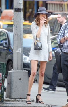 Alexa Chung gray long-sleeved mini dress in NYC, May 2014