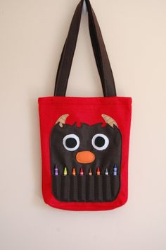 Red Felt Monster Coloring Tote Bag by BetterThanPerfect on Etsy, $20.00