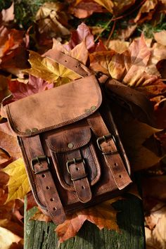 Brown natural goat leather small bag, handbag, satchel, manbag, fairtrade and handmade. Slow Fashion.
