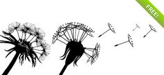 PSD Dandelion Silhouettes with Flying Seeds | FREE PSD FILES